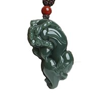 Koraba Fine Jewelry Natural Green Jade Necklace Rich and Secure Valentine's Day Amulet Mascot Pendants Free Shipping