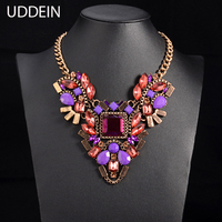 European Big Brand Luxury Women Crystal Purple Gem Choker Necklace Exaggerated Vintage Statement Necklace Party Jewelry