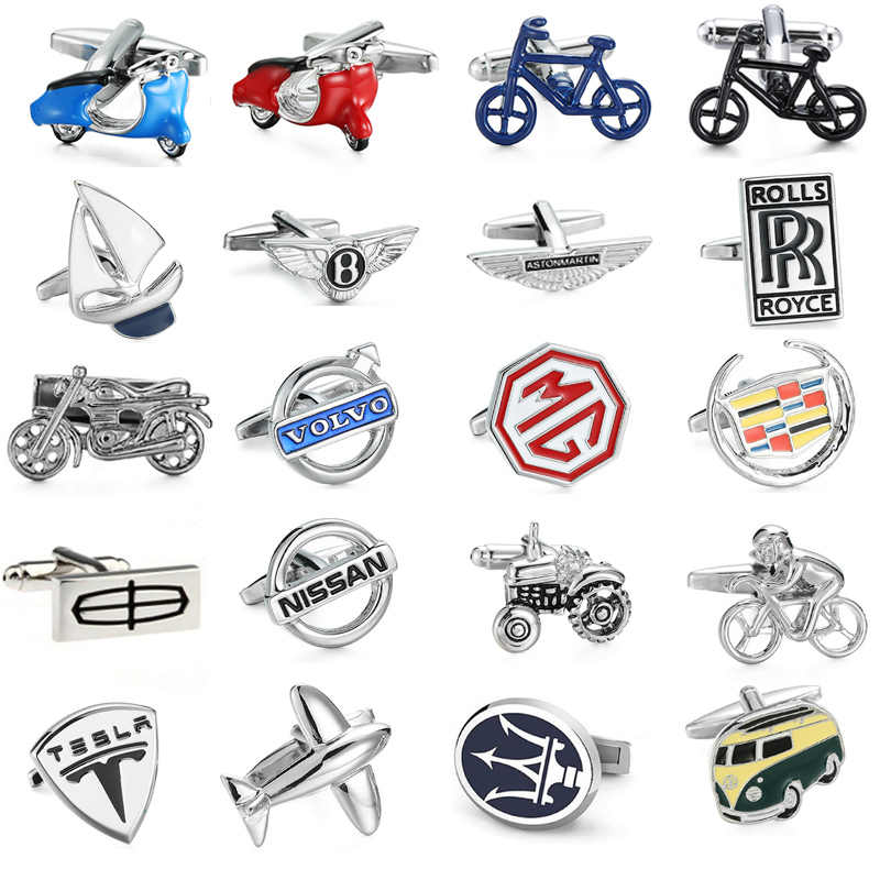 Free delivery, high quality men's shirt cufflinks brand new car logo button MG/VOLVO/ Lincoln / Cadillac / Tesla Cufflinks