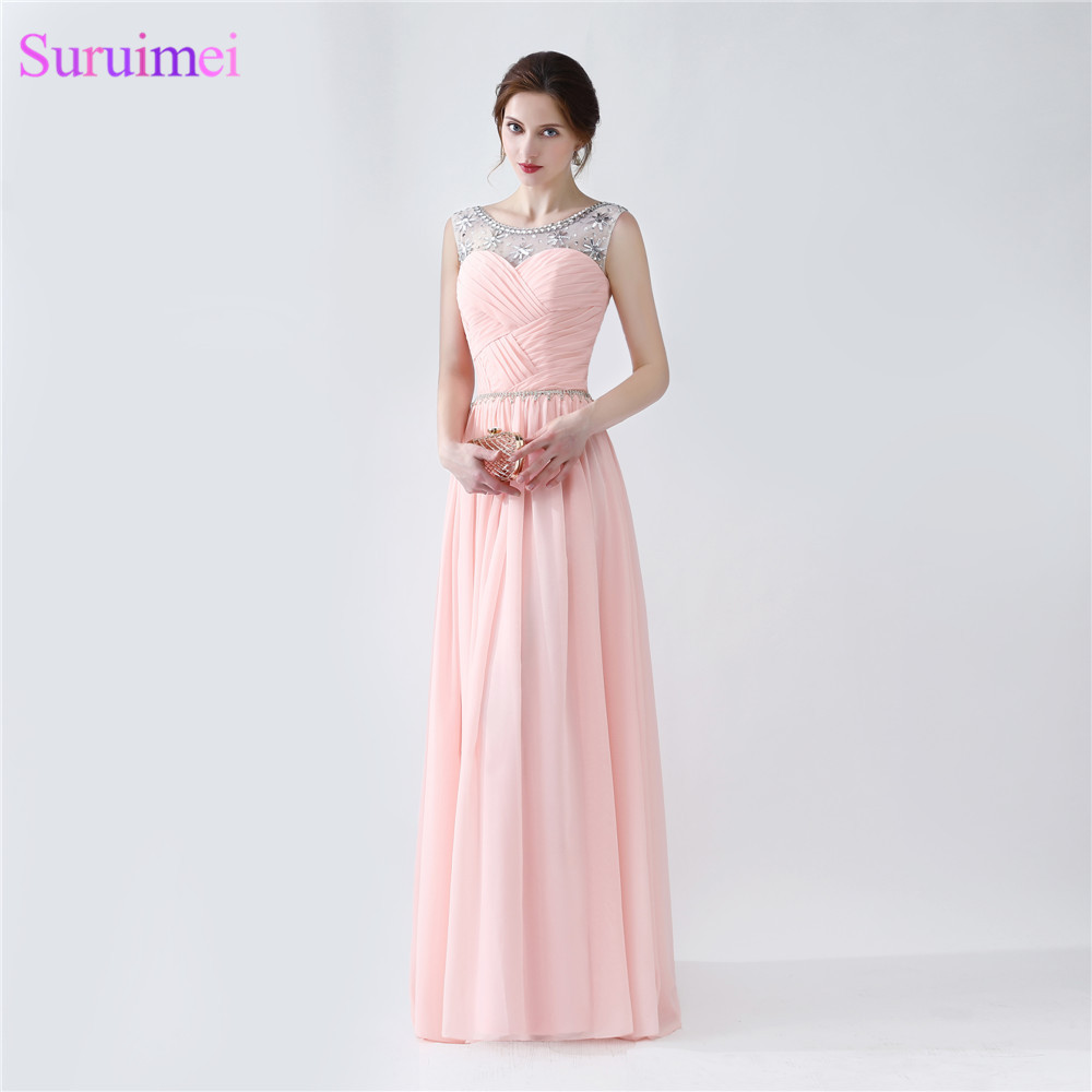 Light Pearl Pink Chiffon Evening Dresses With Spaghetti Strap Floor Length Sheer Illusion Long Formal Evening Dress