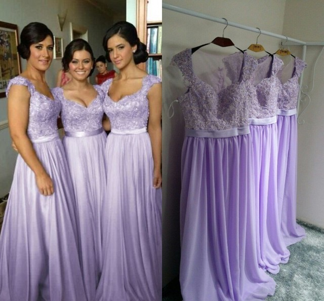 Free Shipping New 2016 Beach Light Purple Wedding Party Dresses Sheer Back  With Applique Lavender Long 96d3f3f31795