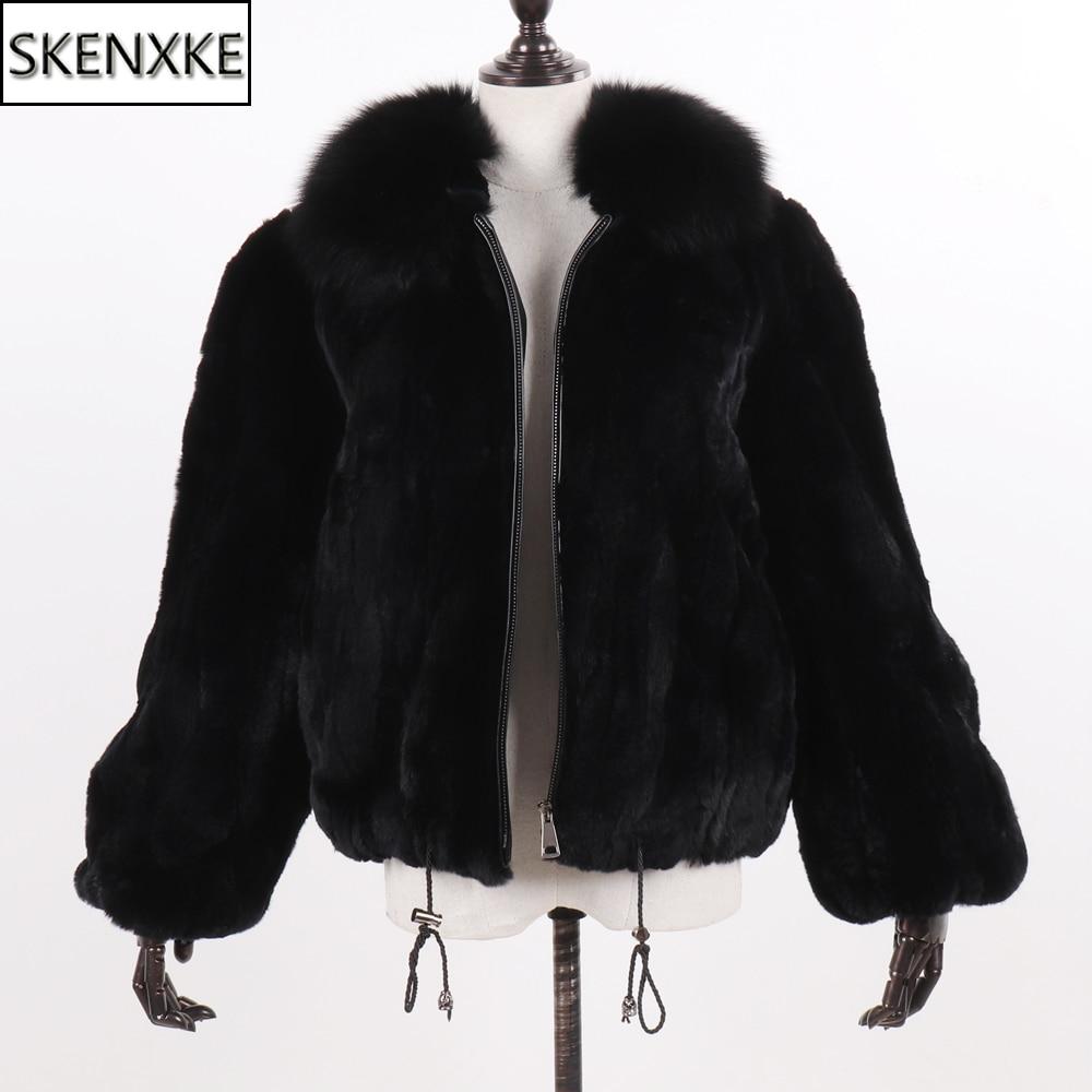 New Women Winter Thick Natural Real Rex Rabbit Fur Coat Lady Warm Quality 100% Genuine Rex Rabbit Fur Jacket With Fox Fur Collar