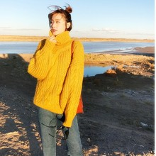Fashion Woman Thick Winter Sweaters Solid Color Female Warm Knit Pull Autumn New Sweater