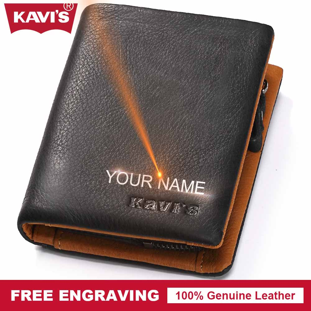 KAVIS Genuine Leather Wallet Men Coin Purse Male Walet Portomonee Vallet PORTFOLIO Card Holder Perse Magic GifT For Man kavis genuine leather wallet men mini walet pocket coin purse portomonee small slim portfolio male perse rfid fashion vallet bag