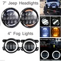 2x105W H4 H13 DRL HIGH LOW BEAM LED Jeeps Wrangler Headlight + 2x30W Fog Light Foe JEEP JK Wrangler
