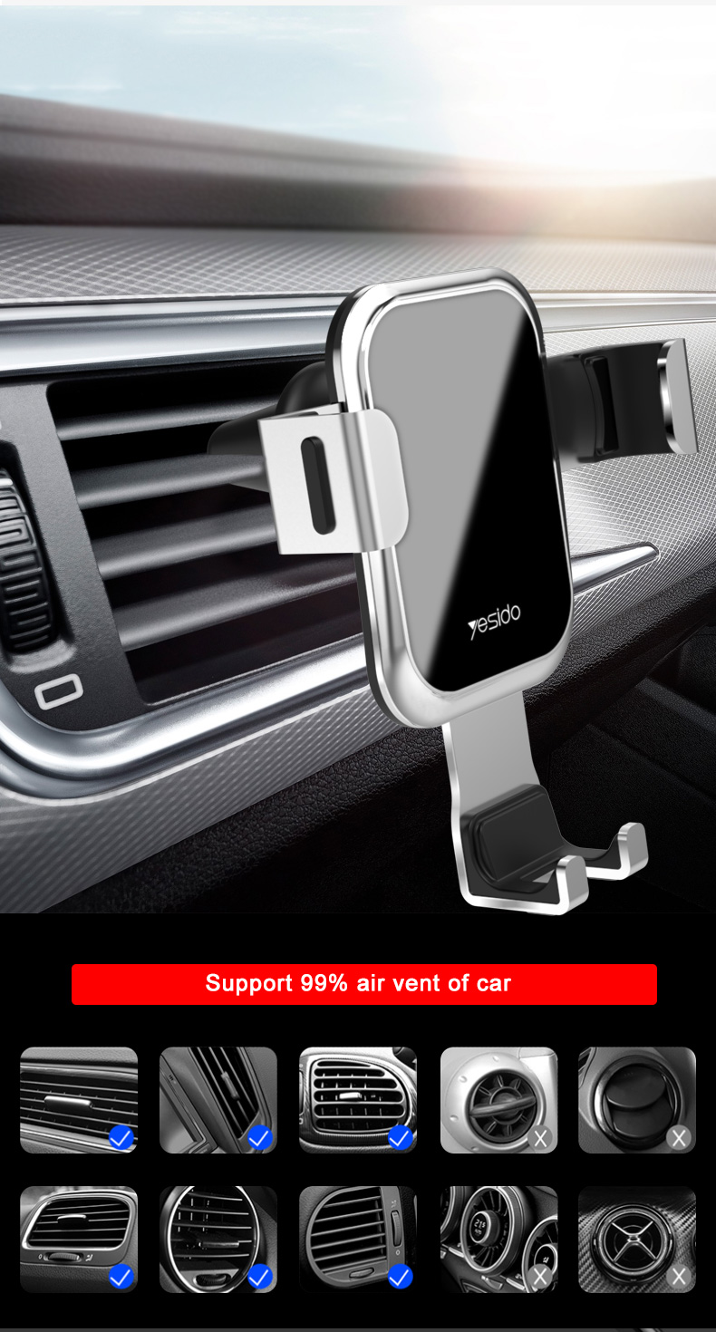 Tempered Glass Gravity Car Phone Holder Air Vent Car Mount Holder (11)