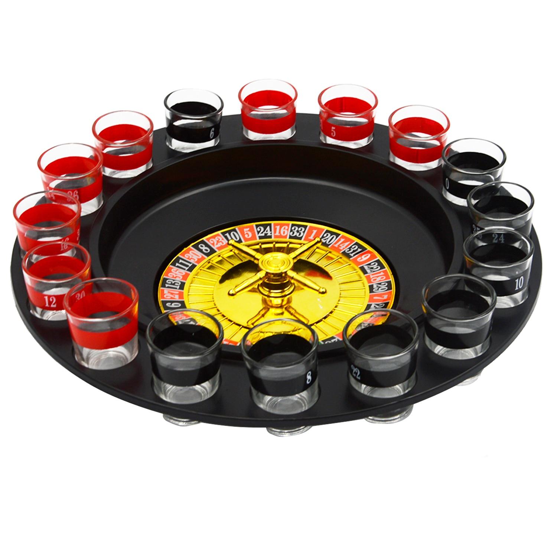 Shot Glass ruleta Mesa divertido juego de beber Set con 2 bolas y 16 gafas