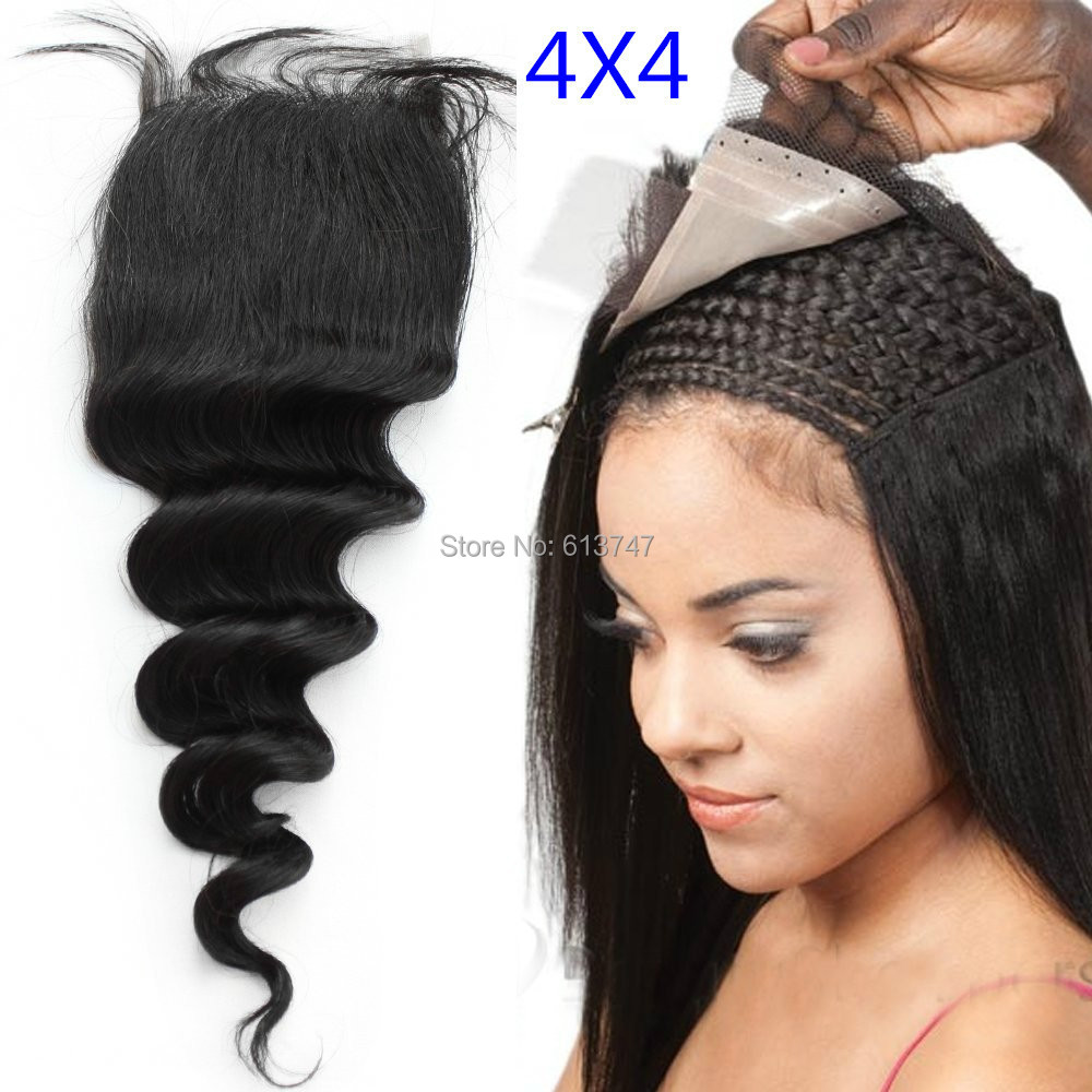 8A+ 4X4 Human Virgin Hair Top Closure Brazilian Loose Wave