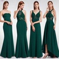 Dark Green Prom Dresses 2019 Ever Pretty Women Elegant Ilussion Sexy Celebrity Dress Prom Lace Vestido De Festa Gala Jurken Long
