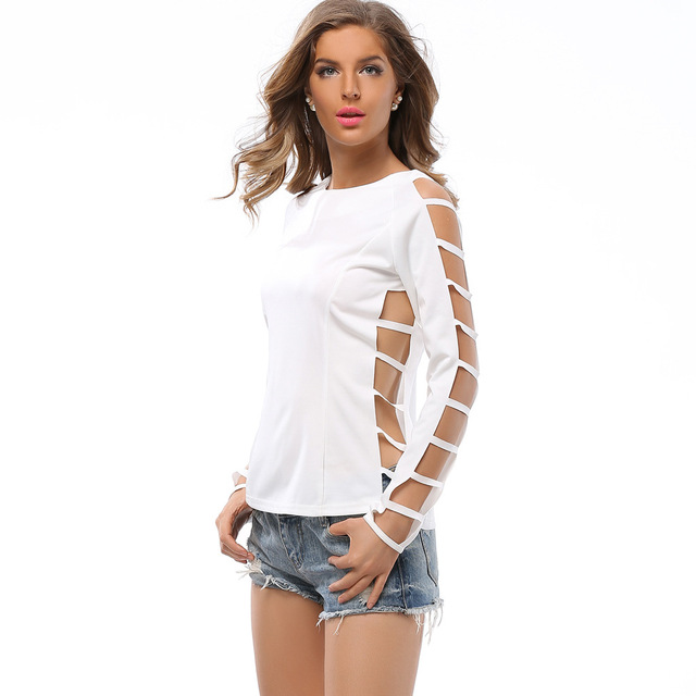 shirt met open mouwen