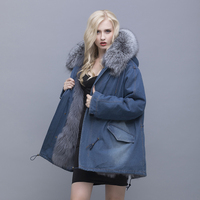 QIUSIDUN Real Pure Natural Fur Jacket Warm Coat Large Size Double Thick Winter Woman Removable Long