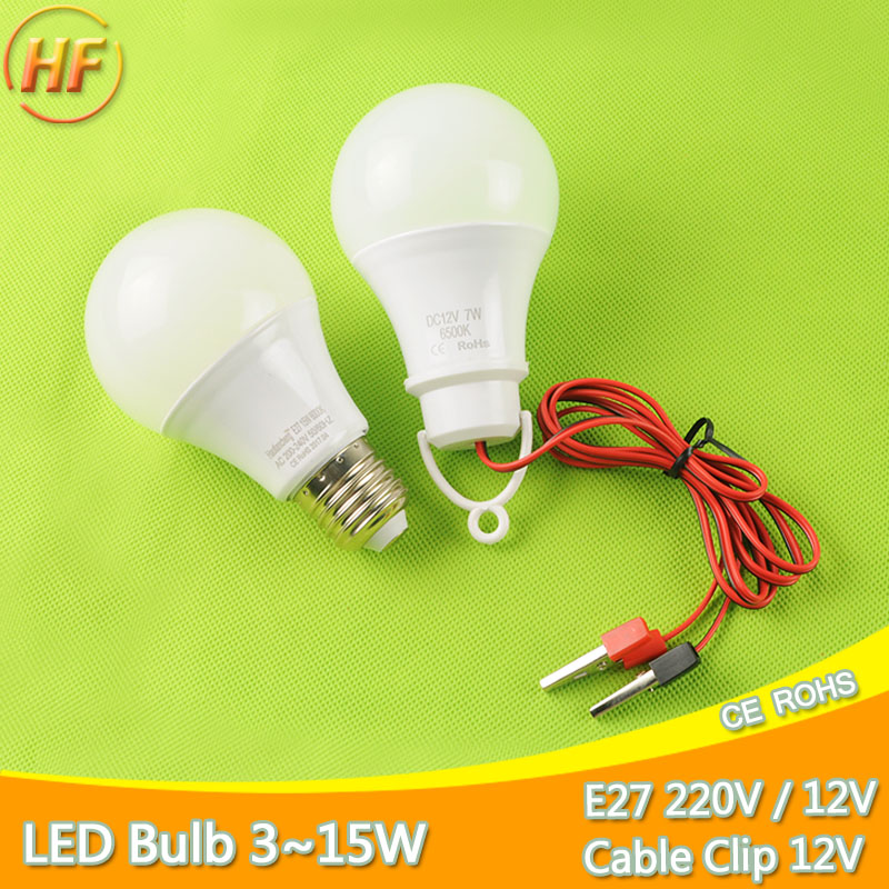 New Cable Clip / E27 LED Bulb DC 12V /AC 220V Portable Hang Light Lamp 3W 5W 7W 9W 12W 15W For Outdoor Camping Fishing Emergency high power 12v led bulb smd 5730 portable led lamp outdoor camp tent night fishing hanging light lamparas 3w 5w 7w 9w 12w