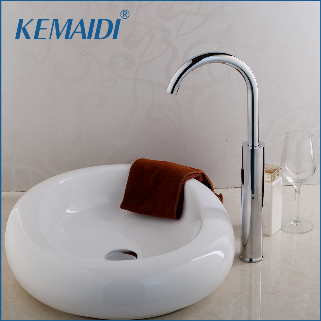 KEMAIDI Luxury Automatic Infrared Sink Hands Touchless Free Faucet Sensor Tap Glaze Basin Set Counter Top Basin Sink MixerKEMAIDI Luxury Automatic Infrared Sink Hands Touchless Free Faucet Sensor Tap Glaze Basin Set Counter Top Basin Sink Mixer