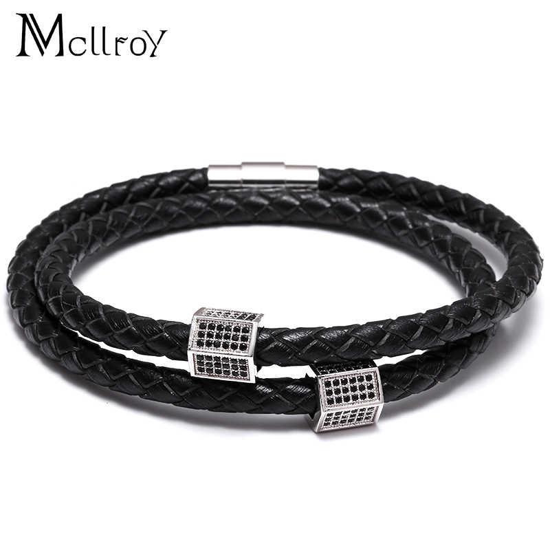 Mcilroy CZ betonowa mężczyźni kobiety Charms czarne prawdziwa skóry bransoletki luksusowe Punk Wrist biżuteria valentine prezent Bracciale Uomo Punk