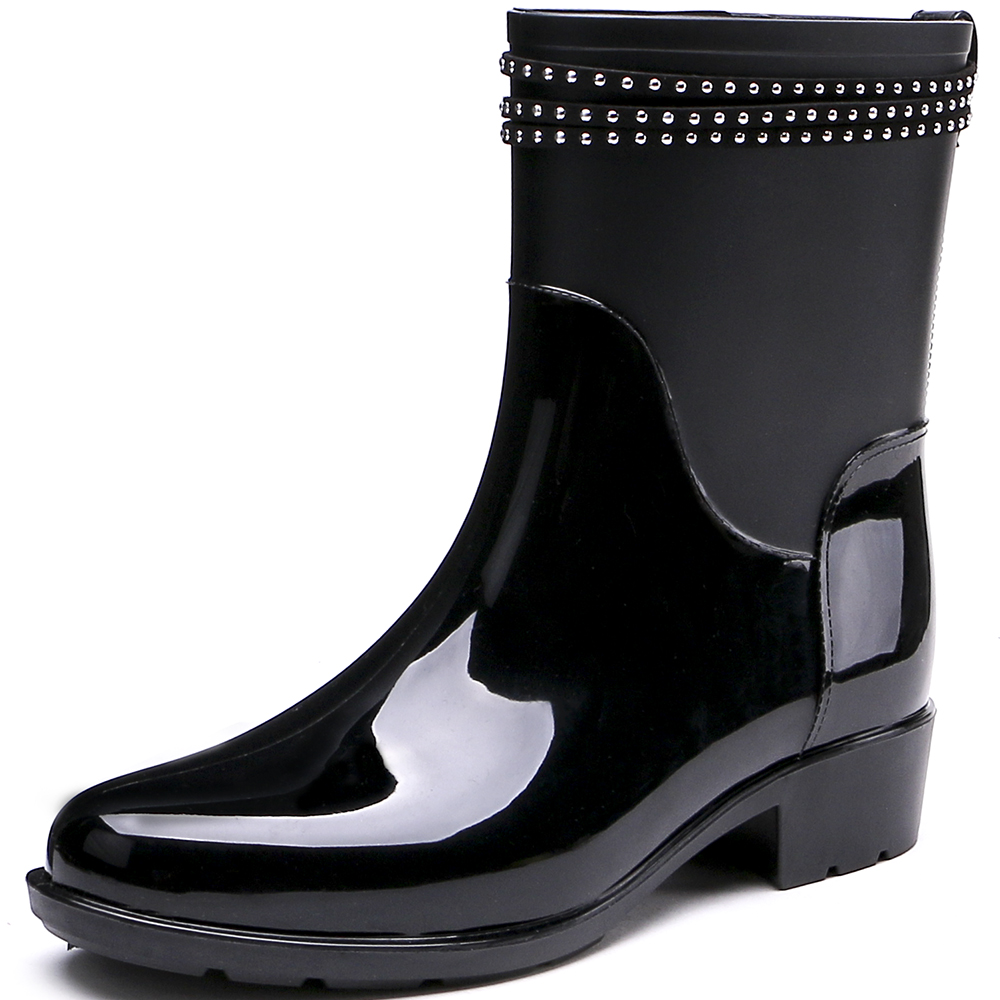 TONGPU New Design Half Boots with Decorative Rhinestone Straps Outdoor Women Rain Boots 208-588