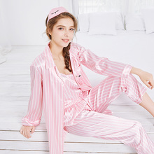 Feier 7 Pieces Pajamas Set for Women Stripe Thin Summer Pink Long Sleeves Sleepwear Faux Silk Loose Autumn Homewear