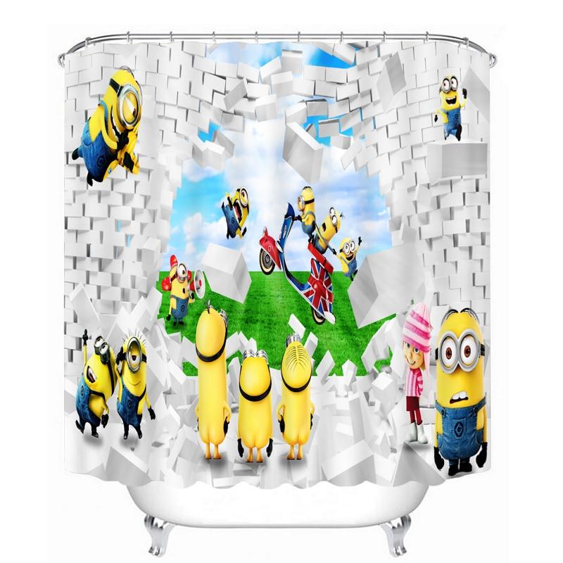 MYRU 3D Print Waterproof Yellow People Shower Curtains