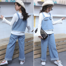 2019 New Girls Spring and Autumn  Cowboys Three Set Fashion Girl Jeans