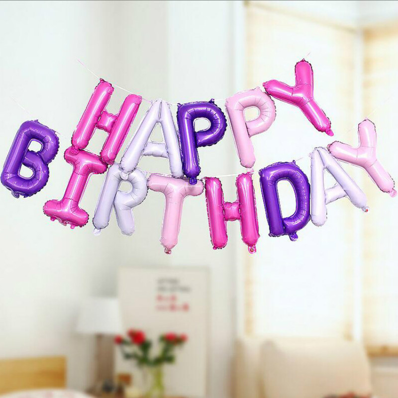 16 Inches 13pcs/set Happy Birthday Rose Gold Sliver Number Foil Balloons Large For Birthday Party Wedding Decoration