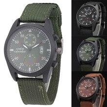 Cool Gift Casual Waterproof Men Watch Army Chronometer Quartz Canvas Calendar Men Watches Wristwatch For Lover LL@17