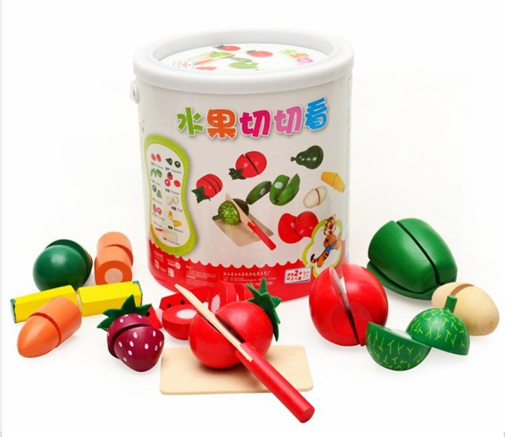 [Funny] Cut Fruits and vegetables food game the wooden barrel Fancy early Educational toys simulation kitchen play toy baby gift ...
