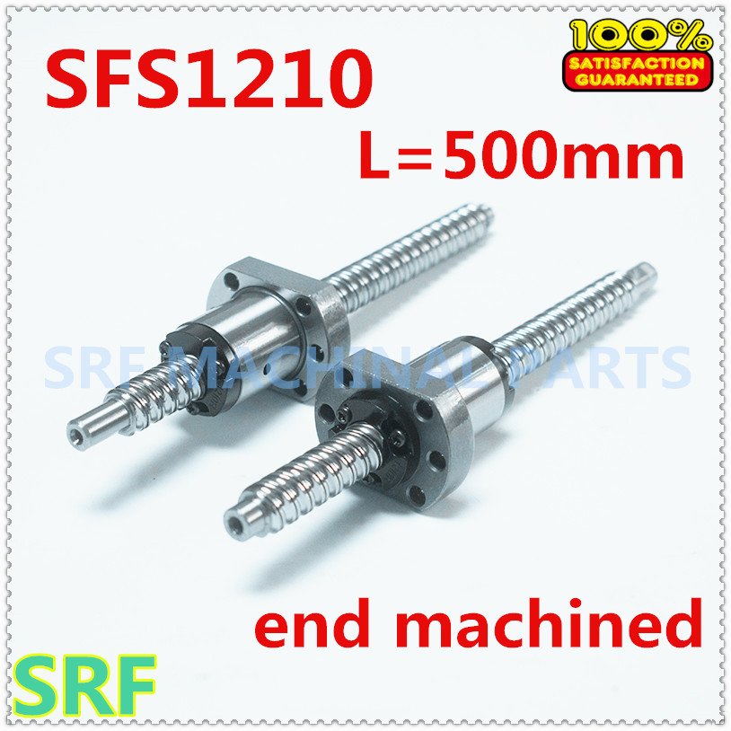 High quality SFS1210 Rolled Ballscrew L=500mm with SFS1210 Ball screw Ball nut end processing for CNC parts high quality 12mm dia sfs1210 rolled ballscrew l 1000mm c7 with sfs1210 ball screw ball nut end processing for cnc parts