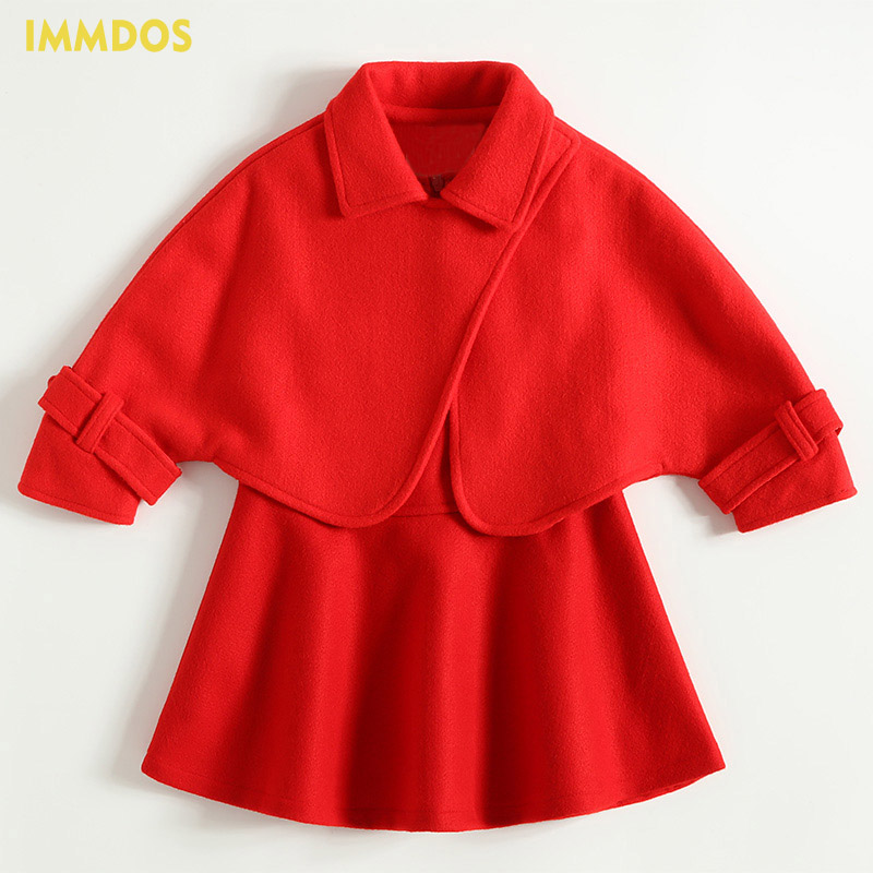 IMMDOS Winter Woolen Cloak Princess Dress Set Fashion Coat Sleeveless Girls Dress New Year Party Dresses Girls Clothing Set hot sale open front geometry pattern batwing winter loose cloak coat poncho cape for women