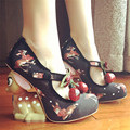 New Cute Little Deer Strange Heel Women Pumps Mary Janes Printing High Heels Party Dress Shoe Cherry Decor Wedge Shoes Woman