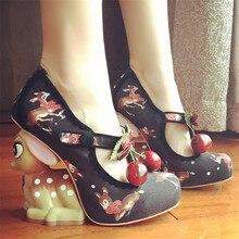 New Cute Little Deer Strange Heel Women Pumps Mary Janes Printing High Heels Party Dress Shoe Cherry Decor Wedge Shoes Woman