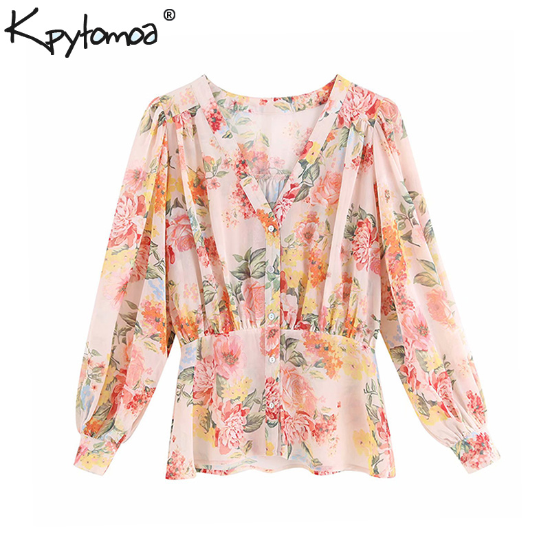 Vintage Chic Floral Print Buttons Chiffon Tops Women   Blouses   2019 Fashion V Neck Long Sleeve Pleated   Shirts   Casual Blusas Mujer