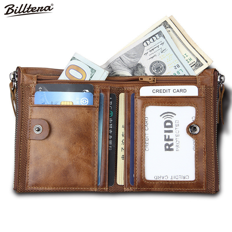 Billtera Men Wallet Short Rfid Man Purse Double Zipper Leather Purses Male Solid Men's Bag Birthday Gift Special Offer