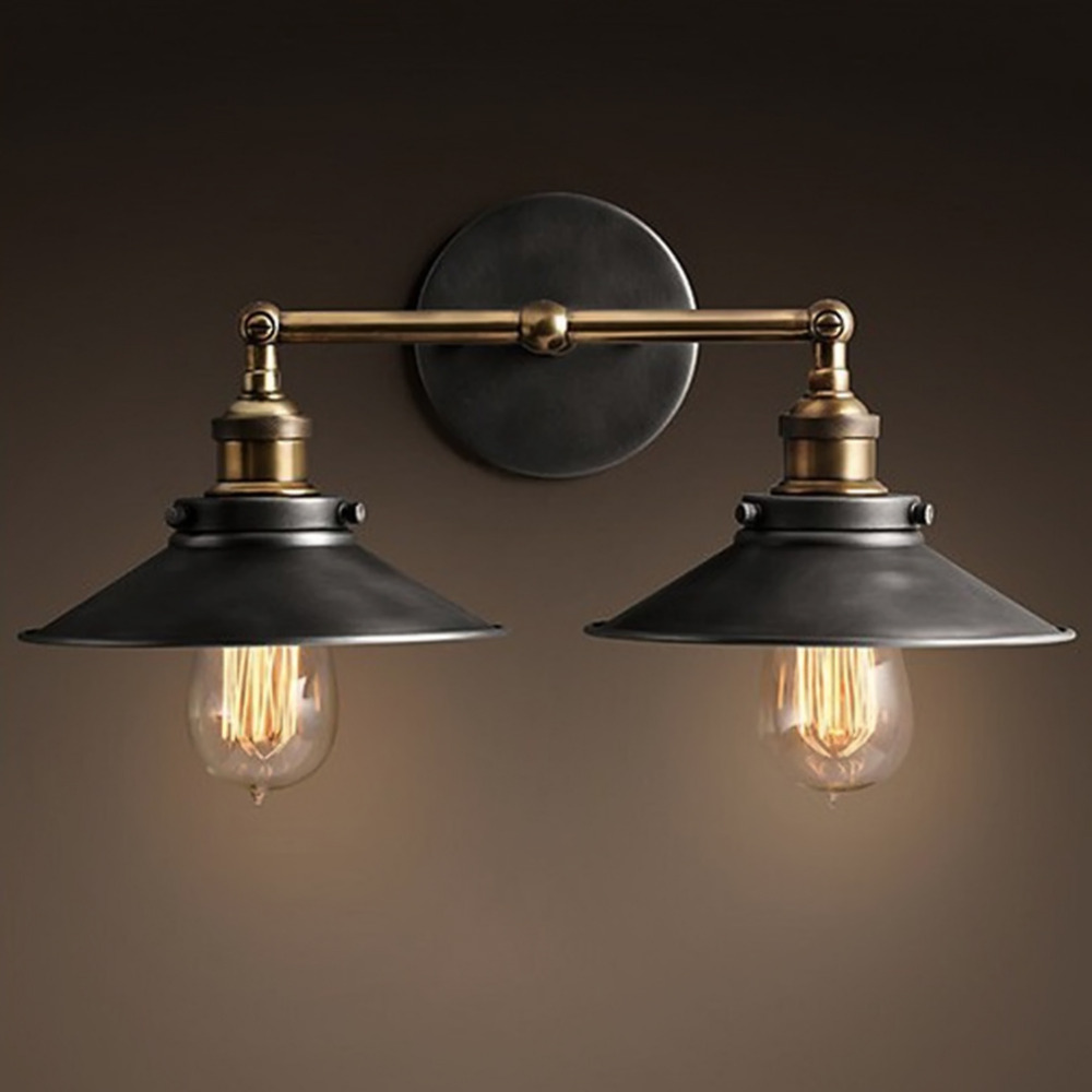 Modern Vintage Loft Metal Double Heads Wall Light Retro Brass Wall Lamp Country Style E27 Edison Sconce Lamp Fixtures 110V/220V-in LED Indoor Wall Lamps from Lights & Lighting    1