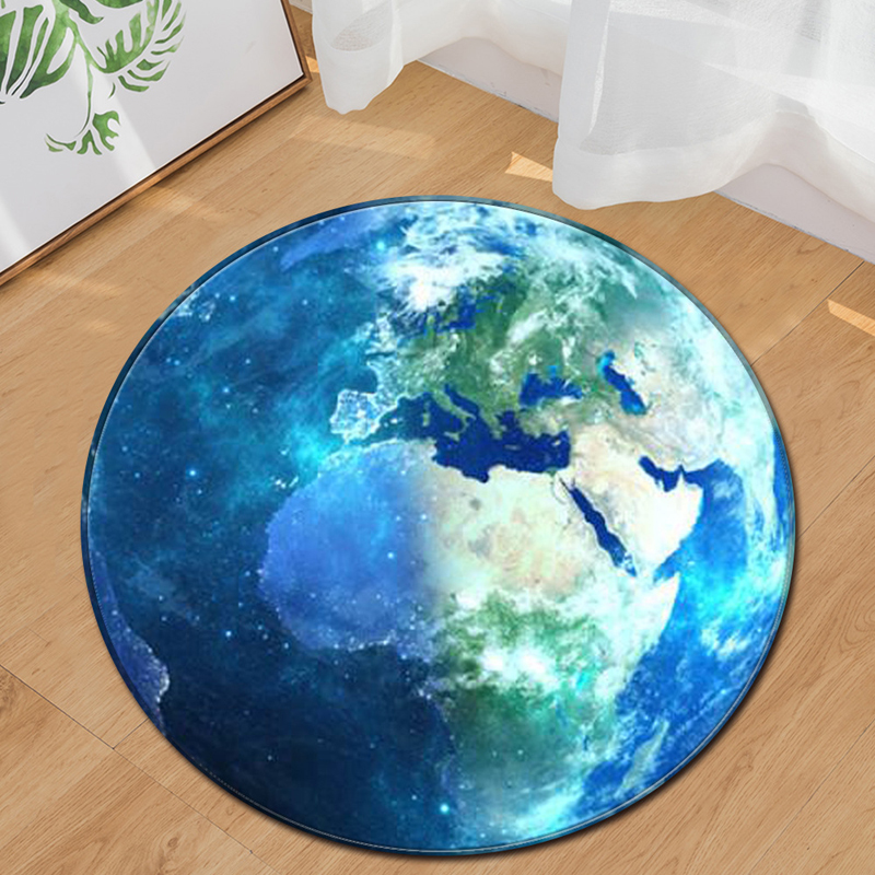 EHOMEBUY Modern New Carpet Round Earth Green Blue Carpets Home Hotel Floor Decoration Bedroom Living Room Foot Pads Rugs