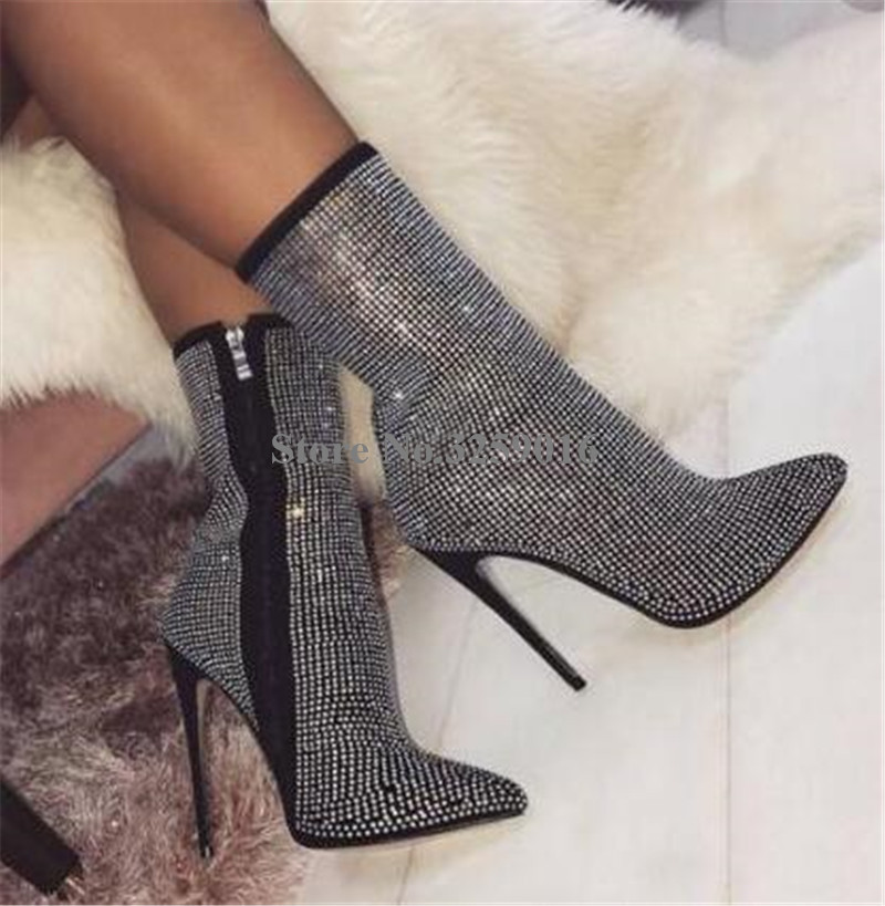 Sexy Ladies Bling Bling Rhinestone Pointed Toe Black Beige Thin Heel Short Boots Luxury Zipper-up Crystal High Heel Ankle Boots denim blue thin heels boots new fashion bling bling crystal embellished high heel boots sexy pointed toe lace up ankle boots
