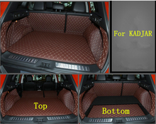 Good! Special Top & Bottom trunk mats for Renault KADJAR 2016 durable waterproof boot carpet liner for KADJAR 2017,Free shipping
