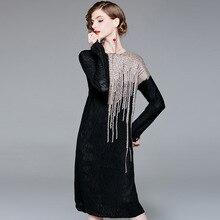 Elastic knit loose sweater long dress 2018 new women autumn plus size