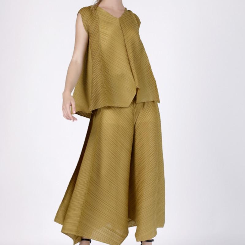 Lanmrem 2019 새로운 여름 패션 여성 pleated 옷 얇은 v 목 민소매 풀 오버 및 높은 허리 와이드 다리 바지 세트 wf78107-에서여성 세트부터 여성 의류 의  그룹 1
