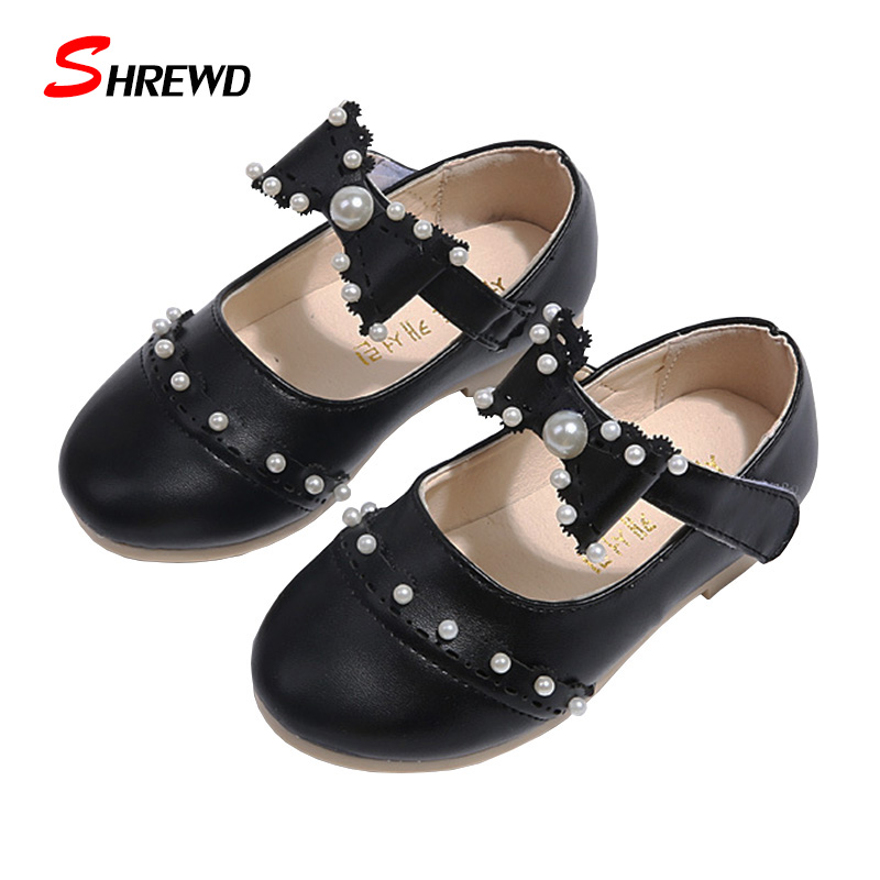 Insole 13-18cm Children Girl Shoes New Aututmn 2016 Fashion Bow Pearl Kids Shoes For Girl Pretty Cute Casual Girls Shoes 9207W