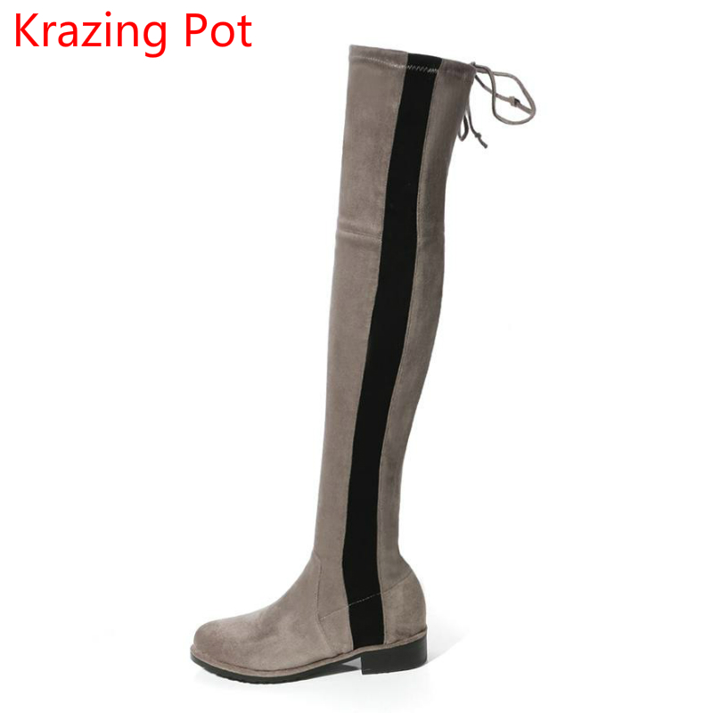Handmade Mixed Colors Stretch Boots Bowtie Keep Warm Winter Boots Thick Heel Thigh High Boots Fashion Over-the-knee Boots L03 superstar flock stretch boots runway fashion winter shoes med heel thigh high boots lace up bowtie women over the knee boots l15