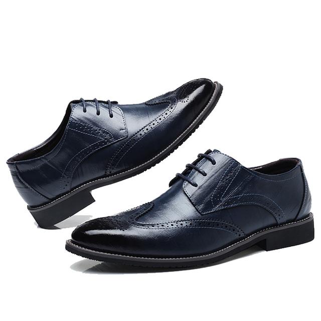 QFFAZ Black Yellow Brown Blue Men Leather Dress Shoes Business Formal Men Office Lace-up Oxford Shoes Form Men Plus Size 38-48