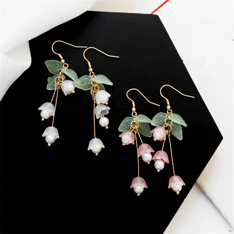 Aestheticism literature eardrop small pure and fresh and sweet girl lilies flowers earring students joker fashion earrings(China)