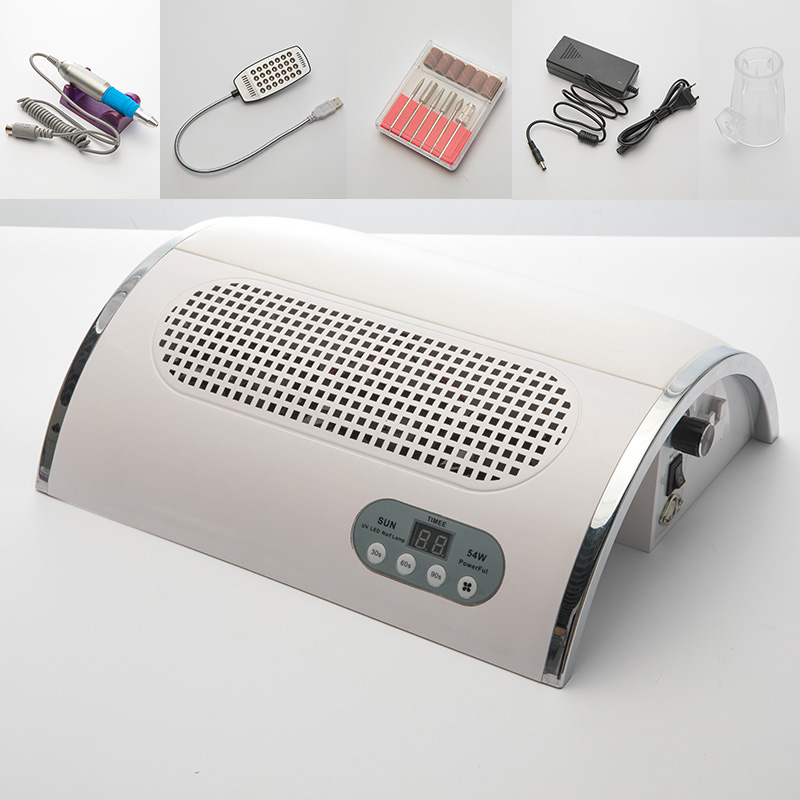 Lamp For Nails 54W Led UV Curing Dryer 3 Fan Vacuum Cleaner For Manicure & Manicure Sander Multi Function Powerful Tool short uv lamp of wp601 accessories of vacuum cleaner
