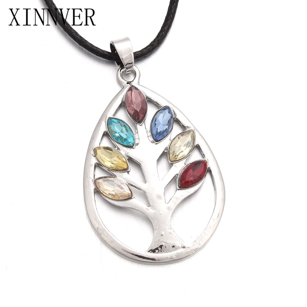 Women Rainbow 7 Chakra Tree Of Life Pendant Necklace Multicolor Crystal Wisdom Tree Natural Stone Necklace Bead Women Jewelry