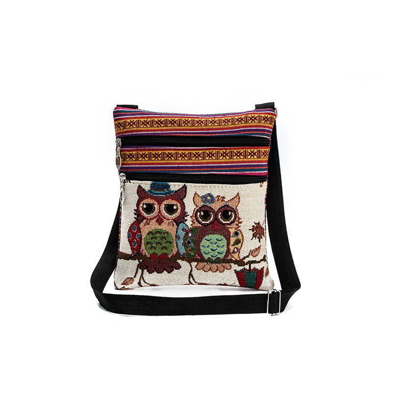 new national canvas shoulder bag women light post bags owl printing embroidery messenger