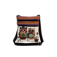 new national canvas shoulder bag women national light post shoulder bags owl printing embroidery messenger bag