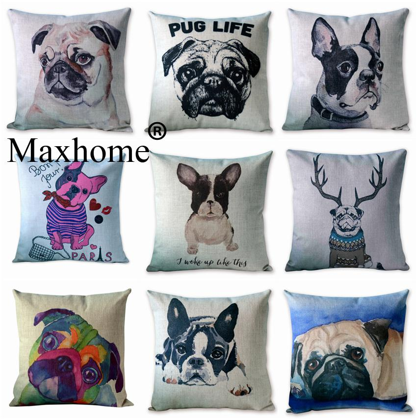 Nordic style animal pillowcase painting french bulldog and for Nordic inspired decor
