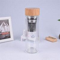 25 шт./лот 400 мл бамбуковой крышкой с двойными стенками из стекла чай стакан. Включает фильтр и для заварки корзина подарок для друга Бесплатн...