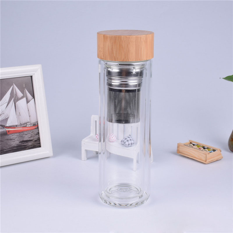 25pcs/lot 400ml Bamboo lid Double Walled glass tea tumbler. Includes strainer and infuser basket gift for friend Free shipping
