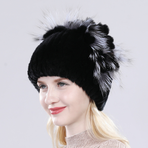 Image 5 - Female Real Genuine Rex Rabbit Fur Cap Russian Winter Knitted Real Rex Rabbit Fur Hat Women Real Rabbit Fox Fur Skullies Beanies