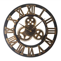 30/40cm Large Wall clock decorative 3D clocks Nordic Industrial Style Vintage wooden wall Clock for Home Bar Cafe Decor